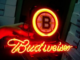 "Wholesale Beer Hockey - BRUINS HOCKEY boston neon sign store display beer bar signs Real glass tube Neon light 17*14"""