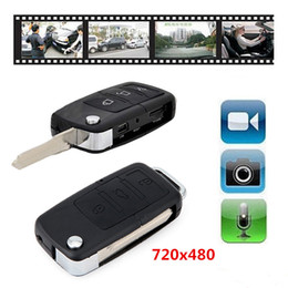 Wholesale Security Car Cameras Recorders - Mini Car KeyChain Camera Mini Car Key Cam Video Audio Recorder Mini DVR DVR Portable Security Surveillance Camcorders