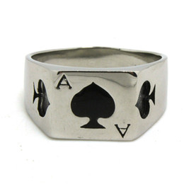 Wholesale American Poker - 1pc Fashion Cool Design Spade A Poker Ring 316L Stainless Steel Cool Man Band Party New Jewelry Spade Heart Ring