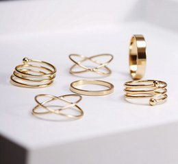 Wholesale Wholesale Stackable Rings - 72Pcs Lot punk gold plated stackable Knuckle midi rings for women Finger Ring set bague Ring Set [JR15124*12]