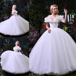 2019 vestido de novia de línea hermosa princesa hombro 2017 Cinderella Pure White Wedding Dresses Sexy fuera del hombro Vestido de Novia Una línea Organza drapeado más tamaño modesto Garden Vestidos de novia