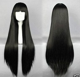 Wholesale Cheap Wig Party - Wholesale cheap HOT! Enma ai Long Black Straight Cosplay Party Anime Wig 80cm