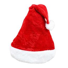 Wholesale Hot Santa Costume - Hot! Father Christmas Hat Xmas Party Costume Santa Claus Adult Headgear Plush Cap Red TY1635