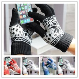 Wholesale gloves for mobile - Wholesale-1 Pair Warm Winter gloves wool knitted touch Gloves for men women Touch Screen glove Snowflake Mittens for Mobile Phone