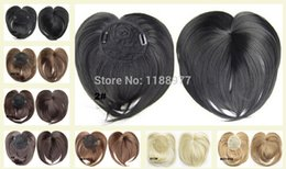 Wholesale Top Hair Hairpieces - Clip in on synthetic top closure hair fringe head skin hair bang hairpieces wiglet ,8 colours available Crown bangs
