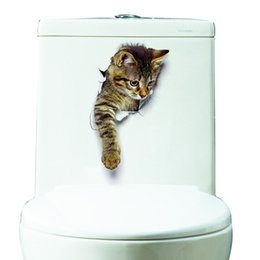 Wholesale Home Decor For Bathroom - New Fashion Hole View 3D Cats Wall Sticker Bathroom Living Room Home Decor for Animal Vinyl Decals Art Poster cute Toilet Stickers