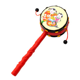 Wholesale Toy Drums Wholesale - Wholesale- Kids Pellet Drum Rattle Hammer Rattle Educational Learning Musical Instrument Percussion Baby Cartoon Musical Instrument Toy