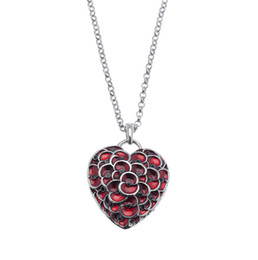 Wholesale British Necklace - 2015 NEW Ruby Red Enamel Heart Poppy Pendant Necklace Jewelry British Stylish Remembrance Souvenir White Gold