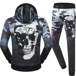 Wholesale Mens Cotton Camouflage Pants - Camouflage Skull Casual Sporting Suits Men New Autumn Set Mens Tracksuit Zipper Hooded Hoodies + Pants Men Sportswear