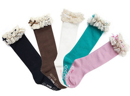 Wholesale Kids Knee High Socks Wholesale - Wholesale-New baby girl socks kids Stockings classic knee BOOT high socks with lace solid color cotton socks