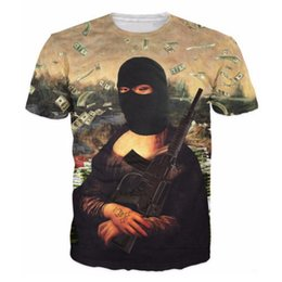 Top t-shirt a pistola online-All'ingrosso-2016 New T-shirt Uomo Brand-Abbigliamento 3D T Shirt Mona Lisa con la pistola Summer Fashion Hip Hop T-Shirt Harajuku Casual Top Tees