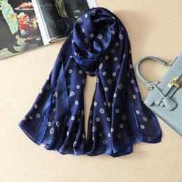 Wholesale Blue Pashminas - Wholesale-Top Qualtiy Size 180cm*90cm 100% Twill Silk Scarf Euro Brand French designer floral Pattern Printed Women Gift Silk Scarves A02