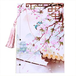 sakura gifts Promo Codes - Wholesale- OFSS Handcrafted 208x140mm Chinese style tassel notepad vintage diary color page notebook stationery Gift(Sakura such as spring)