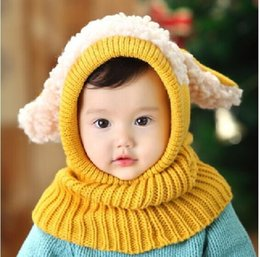 Wholesale Crochet Puppy Hats - Siamese Puppy Scarf Winter 2015 New Baby Hat Wool Hat Winter Hat Hot Sale Beanie Hat Hooded Scarf Earflap Knit Cap Toddler Cute
