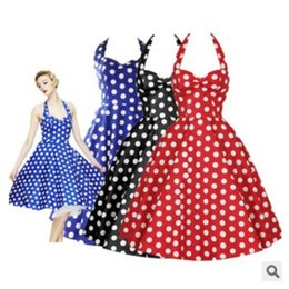 Wholesale Big Polka Dot Women Dress - Hepburn style retro dress Polka Dot Slim big skirt tutu skirt dress hanging neck Tee