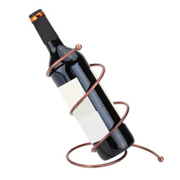 Wholesale Racks For Wine - Whole-metal Construction Wine Rack Bronze Spiral Single Wine Bottle Holder Fashion Wine Holder for Wedding Home Bar Restaurant