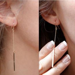 Wholesale Drop Gold Plated Alloy Earrings - Dangle Chandelier Earrings Fashion Women Brief Bohemia Gold Silver Plated Geometric Metal Strap Alloy Drop Earrings Jewelry ER539