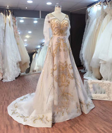 Wholesale Vintage Wedding Shawl Wrap - real photos Sadai Arabia Turkey Pakistan crystal beaded plus size shawl wedding dresses 2018 heavily embroideried bridal wedding gowns