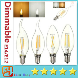 Wholesale E12 Candle Lamp Cool White - Dimmable LED Candle Lamp C35 C35T COB filament bulb chandelier 2700K 6500K 2W 4W 6W E14 E12 base 110V 220V 110 LM W
