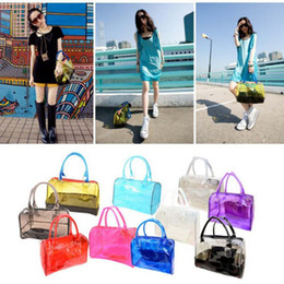 Wholesale Jelly Clutch Bags - Wholesale-Fashion Woman Jelly Clear Bucket Shoulder Bag PVC 2in1 Handbag Purse Clutch Tote