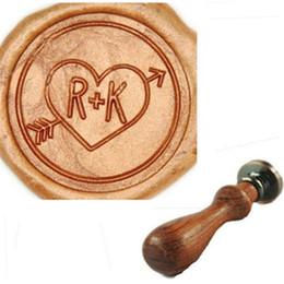 Wholesale Custom Wax Seal - Vintage Custom Love Heart & Arrow Two Letters Wedding Invitations Wax Seal Stamp