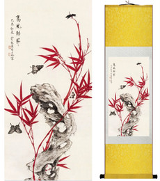 Wholesale Bamboo Posters - 1 Piece Butterfly Bamboo Home Office Decoration Chinese Scroll Silk Wall Art Poster Picture Painting For Living Room