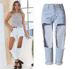 Wholesale High Waist Distressed Jeans - Big holes in thigh and knee women super distressed denim boyfriend ripped jeans plus size high waist ankle length straight jeans