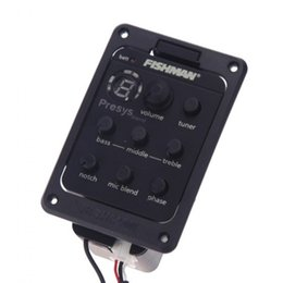 Wholesale Preamp Guitar Pickup - Fishman 301 4-Band EQ Equalizer Acoustic Guitar Preamp Piezo Pickup Guitar Tuner with Mic Beat Board Top Quality