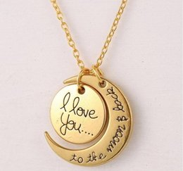 Wholesale Plastic Heart Pendant Necklace - I Love You To The Moon and Back Necklaces for women Wedding Jewelry Accessories Lobster Clasp Pendant Necklace Gold Silver Christmas Gifts