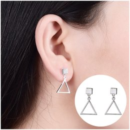 Wholesale Triangle Nail Stud - Korean edition of the newS925 pure silver ear nail geometry triangle earrings with a simple earring of female personality earrings