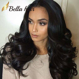 Wholesale Long Wavy Half Wigs - Fantastic Bouncy Wavy Full Lace Wigs Deyable Natural Color Front Lace Wigs with Natural Hairline Free shipping Bella Hair