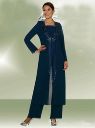 Wholesale groom trousers - Latest Dark Navy 3 Pieces Long Jacket Mother Bride Pants Suits Women Party Wear Chiffon Groom Mother Trousers Suits Fashion Sequins Tassel