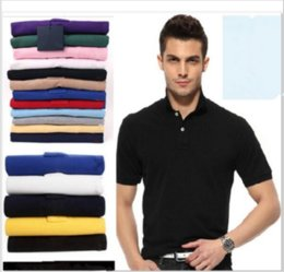 Wholesale Fitted T S - short sleeve Solid color Business men Embroidery Polo shirt Brand quality Wool blends knitted Camisa polo Slim fit Polos homme women t-shirt