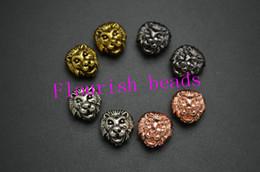 Wholesale Lion Head Necklace Wholesale - About 10MM Gold Color Black Gun Metal Color Rhodium Color Rose Gold Color Lion Head Metal Spacer Bead Charms Fit Bracelet Necklace DIY