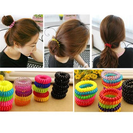Wholesale Wire Cord Hair - 30Pcs Elastic Telephone Wire Cord Head Ties Hair Band Rope Hot Hair Accessories S L Size