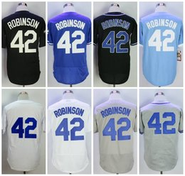 Wholesale Multi Cool - 1955 Los Angeles #42 Jackie Robinson Baseball Jerseys Flex Base Cool Base White Blue Grey Black Throwback Jersey Free fast shipping