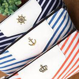 Wholesale Crown Pouch - Wholesale-Free shipping Navy Stripe Anchor Crown Logo Canvas Zipper Pencil Bag, Case School Stationery Pen Bag Cosmetic Pouch