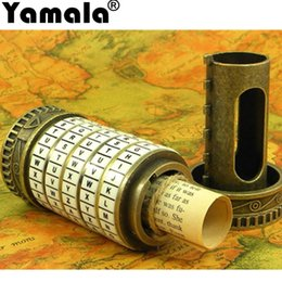 Wholesale Pvc Gifts Ideas - [Yamala] Leonardo da Vinci Educational toys Metal Cryptex locks gift ideas holiday Christmas gift to marry lover escape chamber