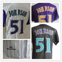 Wholesale Vintage Jersey Baseball - Mens Vintage 51 Randy Johnson Jerseys 2001 Throwback Purple White Black Randy Johnson Baseball Jerseys