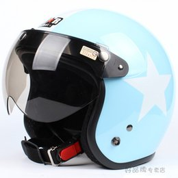 """Wholesale white open face motorcycle helmet - Wholesale-E.18 3 4 Taiwan """" SYC """" ABS Cycling Casque Open Face Motorcycle Sky Blue # White Star Helmet & UV """"W"""" Lens"""