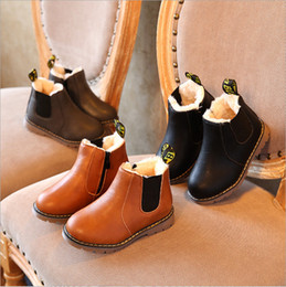 Wholesale Toddler Fashion Boots Brown - Kids Winter Autumn Baby Oxford Snow Shoes For Children Dress Zip Boots Girls Fashion Martin Boots Toddler PU Leather Boots Black Brown Gray