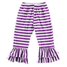girls striped ruffle leggings 2018 - Wholesale-Hot Sale Girls Pants ,Knitted Ruffled baby girls leggings,Fall girls wearing ,birthday ,Pink Black Striped ruffled pants