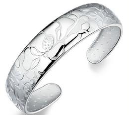 ouro chinês barato Desconto Chinese lótus pulseiras de abertura 30% 925 sterling silver mulheres chapeamento de ouro branco pulseira de casamento bohemia bangle jóias new barato