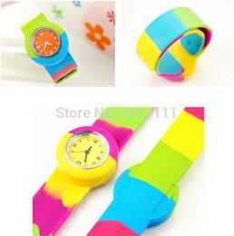 Wholesale Kids Digital Snap Watches - Wholesale - colorful Pa Pa Watch Slap Snap Watch On Silicone Wrist Boy Girl Children Kids Watch Best Gift