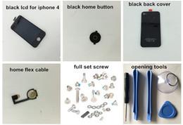 2019 couvercles de boutons pour iphone Écran tactile en gros-noir / blanc + numériseur écran LCD + couvercle du boîtier en verre arrière + bouton Home Flex pour iPhone 4 4G outils à vis promotion couvercles de boutons pour iphone
