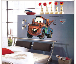 Wholesale Classic Movies Wallpaper - Large Popular Pixar Car Mater PVC Wall Decal Stickers Decor Room Decoration Wall Art Murals All Roads Lead to Rome Quote Wallpaper Graphic