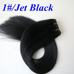 jet black human hair weft Coupons - Brazilian hair bundles 100% Human Hair Weaves 100g 20inch 1# Jet Black Straight hair wefts no shedding Indian hair Extensions