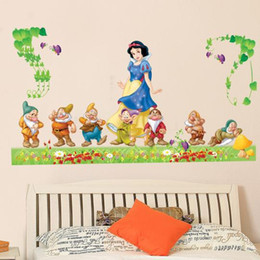 Wholesale Large Snow White Wall Sticker - Large Snow White and the Seven Dwarfs Wall Decal Stickers for Kids Bedroom Nursery Living Room Decor Cartoon Snow White Wall Art Murals