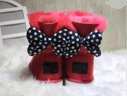 Wholesale Large Christmas Bow Tie - CLASSIC DESIGN SHORT BABY BOY GIRL WOMEN KIDS BOW-TIE SNOW BOOTS FUR INTEGRATED KEEP WARM BOOTS EUR SZIE 25-43 Adult large size
