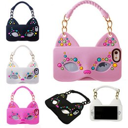 Wholesale Iphone4 Handbag - Handbags Bags Cell Phone Covers Cat Girl Mask Silicone Phone Protective Sleeve For iphone4 4s 5 5s